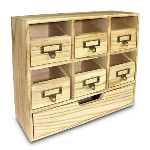 Wood Desktop Organizer Drawer Set With Metal Label