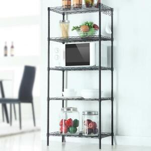 5 Tier Wire Shelving Rack Adjustable Shelf Rack Storage Unit Commercial Black