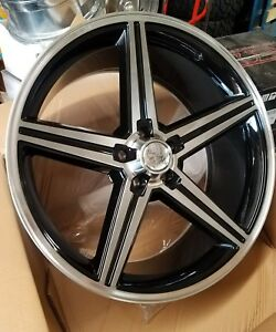 22 Inch Iroc Black And Machined Wheels 5x120 65 12mm Chevy Gm 5x4 75 Bolt New