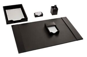 New Dacasso Black Bonded Leather Desk Set 5 Piece Free Shipping
