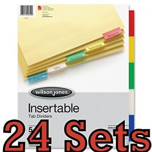 24 Sets Wilson Jones Tab Dividers Insertable Multicolor Tabs 5 6 Sets W54309a