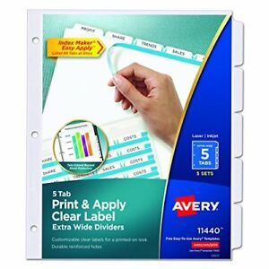 Avery Extra Wide Dividers Ink Jet Printer White 5 Tab 9 X 11 Inches 5 Sets 11440