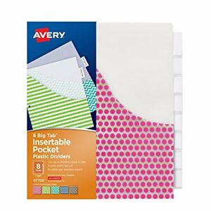 New Avery Big Tab Pocket Insertable Plastic Dividers 8 Tab Set 1 Set 07709