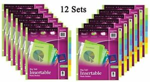 New Avery Big Tab Insertable Plastic Dividers 8 Tabs 12 Sets Free Shipping