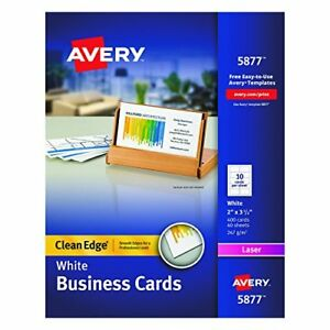 White Clean Edge Two Sided Laser Business Cards 2 X 3 5 Inches Box Of 400 5877