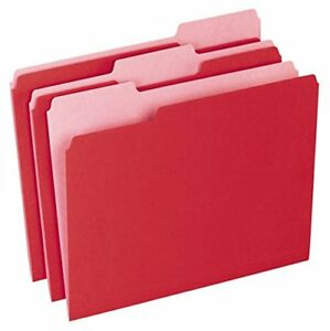 15213red Colored File Folders 1 3 Cut Top Tab Letter Red Light Box Of 100