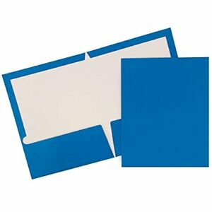 New Jam Paper Two Pocket Glossy Presentation Folders Blue Pack Of 6 Folders