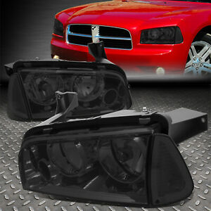 For 2006 2010 Dodge Charger Pair Smoked Houisng Headlight Clear Turn Signal Lamp