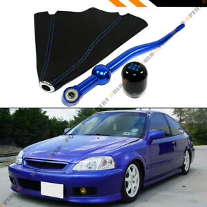For 88 00 Honda Civic Dual Blue Short Shifter type r Shift Knob Leather Boot
