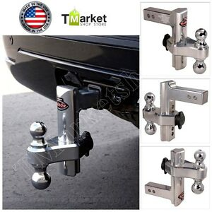 Aluminum 8 Hitch Dual Trailer Truck Tow Adjustable T3 Receiver Lock Trail Heavy