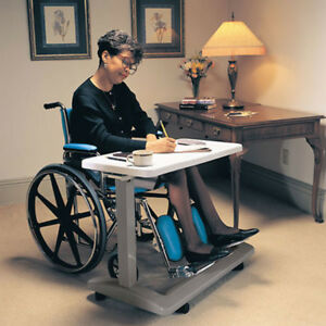 Adjustable Non Tilt Overbed Table Medical Large Top Surface Rolling Eating Write