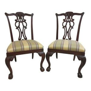 2 Ethan Allen 18th Century Mahogany Chippendale Ball Claw Dining Room Chairs B