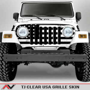 Jeep Wrangler Tj Distressed Usa Flag Grille Skin Decal sticker