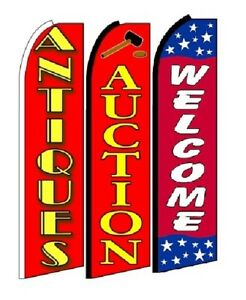 Antiques Auction Welcome King Size Swooper Flag Sign Pack Of 3