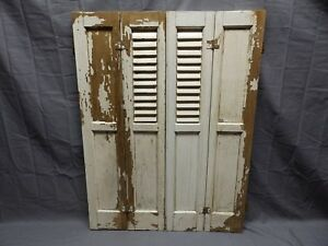 Antique Bi Fold Window Wood Louvered Paneled Shutters 33x13 Interior Vtg 513 18p