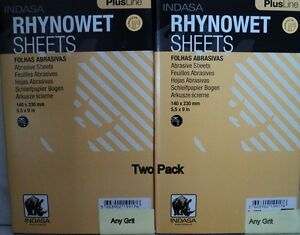 Two Pack Indasa Rhynowet Plus 5 1 2 X 9 Wet dry Sandpaper Any Grit Free Ship