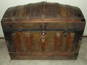 Antique 19th C Large Victorian Dome Top Steamer Trunk W Tray Tin Brass