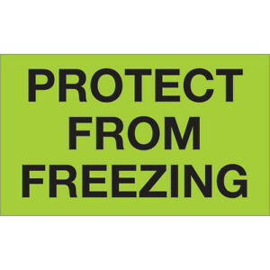 Tape Logic Climate Labels protect From Freezing 3 X 5 Fluorescent Green 500