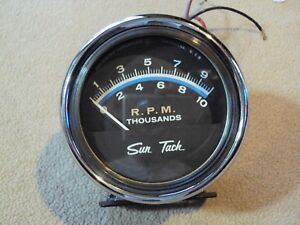 Sun St 601 Tach 10 000 Rpm W chrome Cup Mount tachometer W Light And Wiring