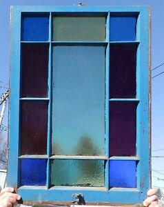 Antique Stained Colored Glass Window Sash 34x24 Victorian Vtg Chic Old 545 18p