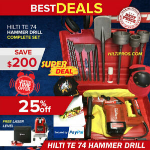 Hilti Te 74 Hammer Preowned Free Laser Level Bits Chisels Extras free Ship