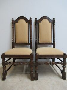 Pair Ethan Allen Charter Oak Jacobean Dining Room Side Chairs A