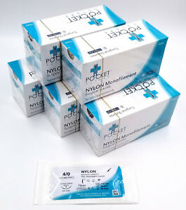 5 Boxes 4 0 Training Sutures Nylon Monofilament boxes Of 12