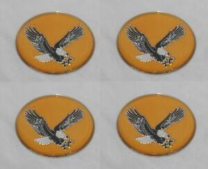 4 Gold Eagle Bird Wheel Rim Center Cap Round Emblem Sticker Logo 1 75 44mm