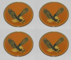 Set Of 4 Gold Bird Eagle Logo Wheel Rim Center Cap Round Decal Sticker 2 50mm