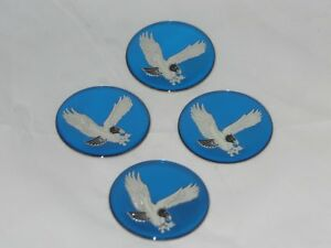 4 Blue 2 50mm Bird Eagle Logo Wheel Rim Center Cap Round Decal Sticker Set