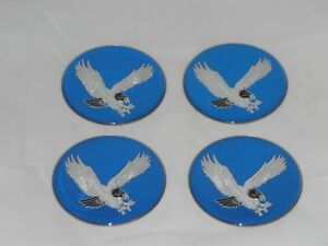 4 Blue 2 75 70mm Dia Eagle Bird Logo Wheel Rim Center Cap Round Sticker