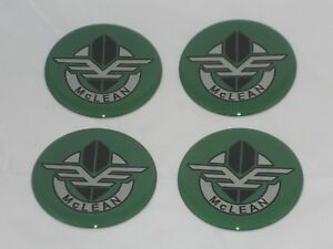 4 Green Mclean Wire Wheel Rim Center Cap Round Sticker Logo 2 25 57mm Dia