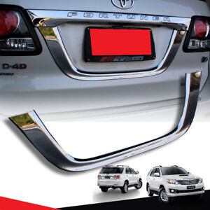 Chrome License Plate Tailgate Trim Fit For Toyota Fortuner Sw4 2012 13 14
