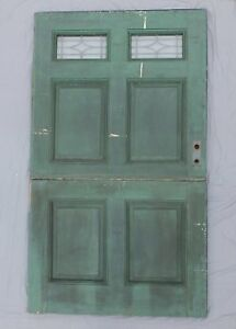 Antique 83x48 Wide Dutch Door Leaded Glass Exterior Entrance Door Vtg 563 18p