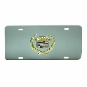 Chrome Wreath Cadillac Logo Front License Plate Frame Stainless Mirror Steel 3d