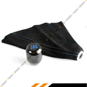 M10 X 1 25 Type R Black Blue 5 Speed Gear Knob Suede Shift Boot For Mitsubishi