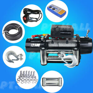 Black 12500lbs 12v Electric Recovery Winch Truck Suv Wireless Remote Control P3
