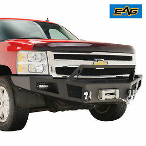 07 13 Chevy Silverado 1500 Front Winch Bumper W led Lights Black Heavy Duty