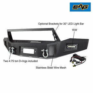 Black Heavy Duty Front Winch Bumper With Led Lights For 07 13 Toyota Tundra