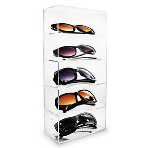 Acrylic Five Shelves Eyewear Case Display Wall Mounted free Standing