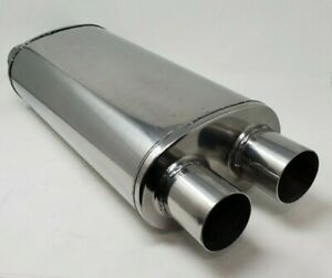 Stainless Steel Fully Polished 2 5 Dual Inlet X 2 5 Dual Outlet Muffler Exhaust
