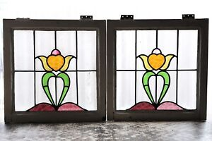 Pair Of Antique Stained Glass Windows Stunning Five 5 Color Tulips 3095