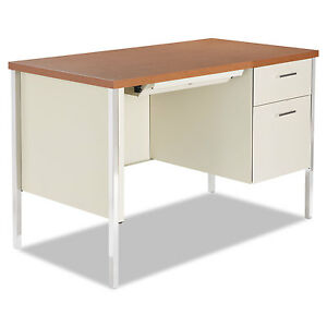 Alera Single Pedestal Steel Desk Metal Desk 45 1 4w X 24d X 29 1 2h Cherry