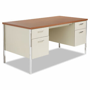 Alera Double Pedestal Steel Desk Metal Desk 60w X 30d X 29 1 2h Cherry putty