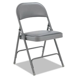 Alera Steel Folding Chair With Two brace Support Padded Back seat Light Gray