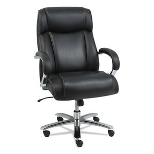 Alera Maxxis Series Big And Tall Leather Chair Black chrome Ms4419