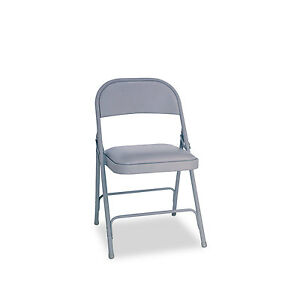 Alera Steel Folding Chair With Two brace Support Padded Seat Light Gray 4