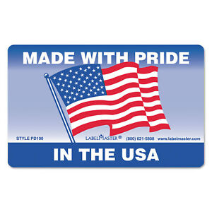 Labelmaster Warehouse Self adhesive Label 5 1 4 X 3 Made With Pride In The Usa