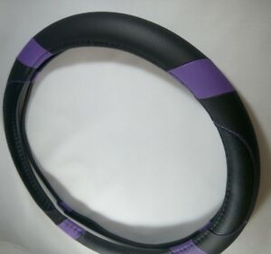 2016 Black Purple Slip on Pu Steering Wheel Cover Good Fit Non slip Handling