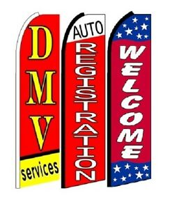 Dmv Services Auto Registration Welcome King Size Swooper Flag Pack Of 3